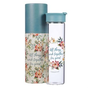 Bouteille d'Eau en Verre / All Things Work Together For Good Glass Water Bottle - Romans 8:28