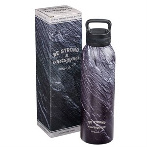 Bouteille d'Eau en Acier Inoxydable / Strong & Courageous Black Stone Stainless Steel Water Bottle - Joshua 1:9