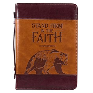Couverture pour Bible LARGE / Stand Firm Two-tone Brown Faux Leather Classic Bible Cover - 1 Corinthians 16:13 , LARGE