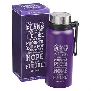 Bouteille d'Eau en Acier Inoxydable / I Know the Plans Purple Stainless Steel Water Bottle - Jeremiah 29:11