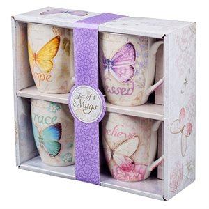 Set de 4 Tasses / Butterfly Blessings Mug Set