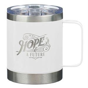 Tasse de Café en Acier Inoxydable / Hope and a Future White Camp Style Stainless Steel Mug - Jeremiah 29:11