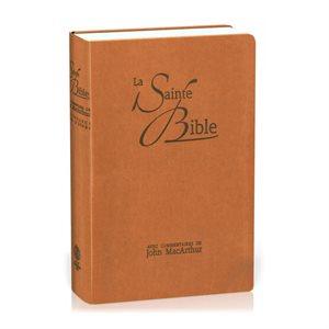 La Sainte Bible - MacArthur - Souple similicuir brun, onglets découpés