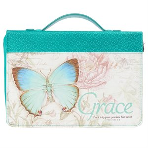 Couverture pour Bible LARGE / Grace Butterfly Blessings Teal Faux Leather Fashion Bible Cover - Ephesians 2:8 ; LARGE
