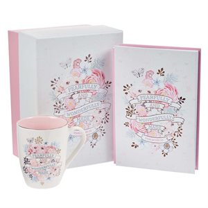 Kit Cadeau pour Femme - Tasse et Journal / Fearfully and Wonderfully Made Journal and Mug Boxed Gift Set For Women - Psalm 139:14