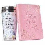 Kit Cadeau pour Femme - Tasse de Voyage et Journal / Love in My Heart Travel Mug and Journal Boxed Gift Set for Women