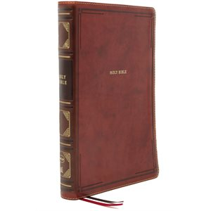 NKJV Large-Print Thinline Bible, Comfort Print--soft leather-look, brown (indexed)