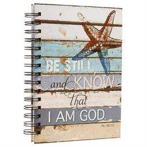 Be Still Coastal Design Large Hardcover Wirebound Journal - Psalm 46:10