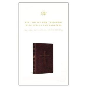 ESV Vest Pocket New Testament with Psalms and Proverbs (Soft leather-look, dark brown with cross design)