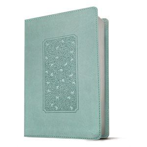 NLT Giant-Print Personal-Size Bible, Filament Enabled Edition--soft leather-look, floral frame teal