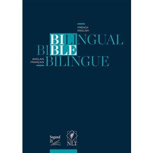 Bible bilingue anglais-français (S21-NLT). Versions Segond 21, New Living Translation - Couverture souple bleue marine, tranche blanche