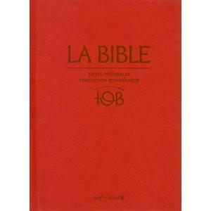 La Bible d'étude TOB, version Traduction Œcuménique de la Bible, à notes intégrales - Couverture rigide rouge