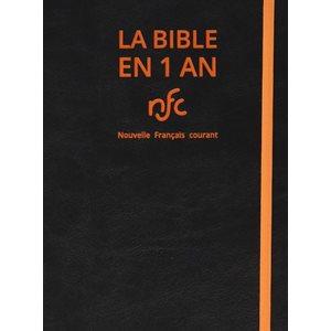 La Bible en 1 an - Version Nouvelle Français Courant (NFC), Édition Catholique, Couverture souple noire