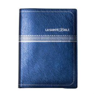 La Sainte Bible Version Louis Segond 1910 - Caractères moyens (Couverture Vinyle Bleu Marine, Embossage Argent)